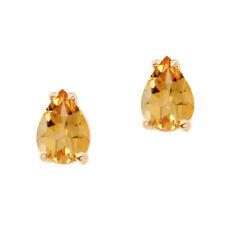 14k Yellow Gold Pear Shaped Citrine Stud Earrings