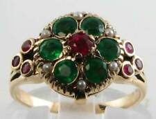 DIVINE 9CT 9K GOLD INDIAN RUBY EMERALD PEARL LOCKET POISON RING FREE RESIZE
