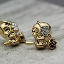Women Man 18K Gold Plated 3D Gothic Punk Skull Head Face Rose Stud Earrings