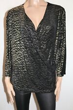 PEER GYNT Brand Black Gold Long Sleeve X Over Blouse Top Plus Size 3X BNWT #TB44