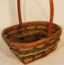 Rectangular RED~Natural~GREEN Wooden Strap WICKER BASKET Gift Handle CHRISTMAS