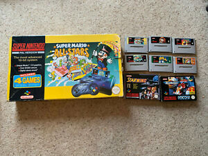 SUPER NINTENDO SNES CONSOLE BOXED WITH 8 GAMES