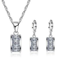 925 Sterling Silver Princess Cut Diamond Earrings Necklace Jewellery Set