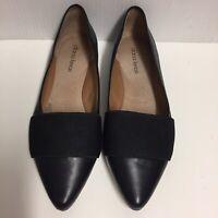 Diana Ferrari Carousel Black Leather Pointy Toe Ballet Flats Shoes 6