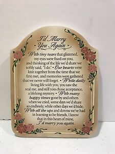 Dexsa I'd Marry You Again Plaque Anniversary Poem On Wood Sign