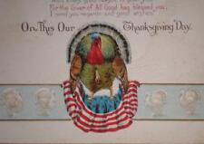 1917 Patriotic Thanksgiving Day Stecher Litho Co. Postcard-Turkey- Posted (425m)