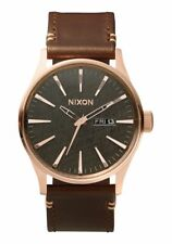 Nixon Sentry Leather Watch Rose Gold/Gunmetal/Brown NEW in box