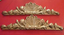Collectible Lovely Lacquered Brass Pair of Ornaments - Door Window Fence - Wow !