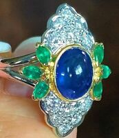 Long Vintage Platinum 4.74ctw Sapphire Emerald VS Diamond Navette Ring 10.3g
