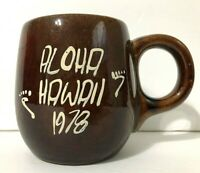 VTG1978 Aloha HAWAII Souvenir Ceramic Coffee TiKi Mug Cup Painted Brown Hawaiian