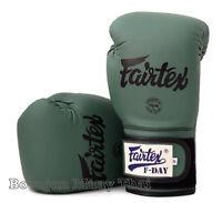 New Fairtex Limited Ed BGV11 F Day Military Green Muay Thai Boxing Gloves MMA K1
