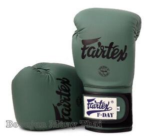 Fairtex Limited Ed BGV11 F Day Military Green Muay Thai Boxing Gloves Retail box