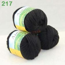 SALE 3x50gr Skeins Worsted Wool Silk Hand Knitting Yarn Black 217