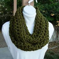 INFINITY LOOP SCARF Dark Olive Military Green Cowl, Circle Winter Crochet Knit
