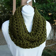 INFINITY LOOP SCARF Dark Olive Military Green Cowl, Circle Winter Crochet Knit
