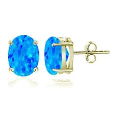 Gold Ton über Sterlingsilber Künstlicher Blauer Opal 7x5mm Oval Ohrstecker