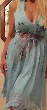 NESLAY Halter Dress Women's Medium Turquoise Boho Hippie Soft Pleated Chiffon