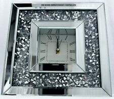 Diamond Crush Crystal Sparkly Silver Mirrored Square Table Mantel Clock