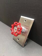 VINTAGE STEAMPUNK NIPPLE WALL SWITCH STAINLESS STEEL.WITH RED TURN HANDLE
