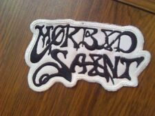 MORBID SAINT,SEW ON BLACK WITH WHITE EDGE EMBROIDERED PATCH