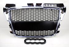 Audi A3 8P 09-12 RS Style Chrome w/ Matte Black Mesh Front Hood Bumper Grill