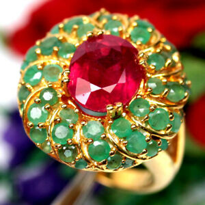 NATURAL 9 X 10 mm. RED RUBY & EMERALD RING 925 SILVER STERLING SZ 6.5