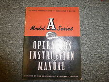 Cummins Model A Diesel Engine Owner Operator Maintenance & Instruction Manual