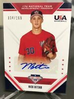 2020 Panini Stars & Stripes Nick Bitsko 17U Auto USA Baseball 34/169 #17U-NB