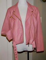 $200!! MICHAEL KORS DUSTY ROSE PINK FAUX LEATHER BOMBER MOTO BIKER JACKET COAT L