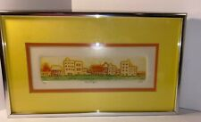 Modern City Skyline Artwork Wall Artist Mott Orange Yellow Framed 62/150 Glass