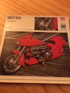 """Arlen Ness """"The Big Rojo """" 1991 Tarjeta Moto Colección Atlas"""
