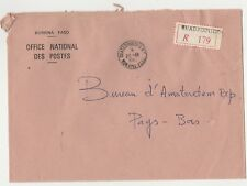 Burkina Faso registered Postoffice cover to Netherlands post 1989