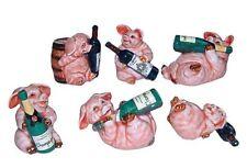 Miniatures en porcelaine _ COCHONS avec bouteille 5 à 6cm _ Série complète 6pcs