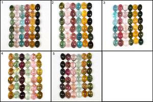36 Pcs Natural Tourmaline 6.5mm-7mm Oval Cabochon Superb Multi Color Gemstones