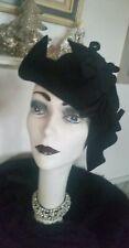 New listing Vintage Late 40s Schiaparelli Womans Hat Rare Aysemmetric Blk Felt & Peaks