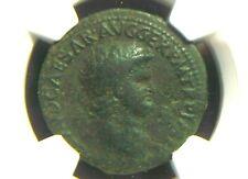 AE As of Roman Emperor Nero, Apollo w/ Lyre reverse NGC Ch F 3011