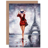 Lady Wearing Red In Paris Card With Envelope