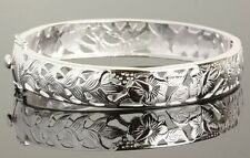 Hawaiian 925 Sterling Silver Hibiscus Flowers Bracelet Bangle Open Clasp B2141