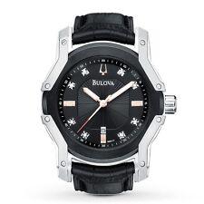 New Mens Bulova 98D117 Diamond Black Dial Leather Strap Watch