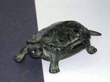 Figurine AntiqueTurtle Cast Iron Hinged Shell Match Box Key Holder Trinket Box