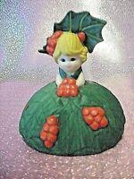 *SUPER RARE* VTG Christmas Girl Angel Holly Bell Ornament Figurine