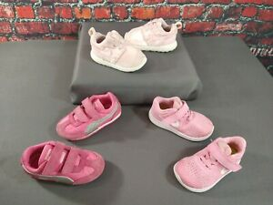 Lot of 3 girl's infant/toddler NIKE & PUMA pink athletic shoes - SIZE 6 C