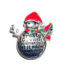 PENDANT/NECKLACE/BROOCH ST Winter Christmas Red & Green Enamel HOLIDAY SNOWMAN