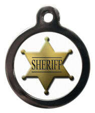 Pet Id tag Cute Sheriff Personalised Dog or Cat Tag two sizes