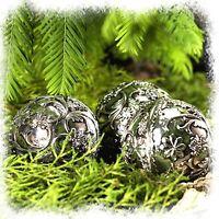 Vintage Dekokugel Weihnachtskugel silber Ø 6,5 cm Kugel mit Ornament Shabby Chic