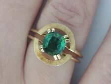 Estate 14K Yellow Gold 2.80 TCW Green Tourmaline Ring, Size 7.5, 8 grams- Heavy!
