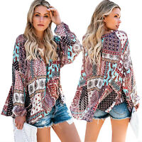 Women Gypsy Boho Floral Paisley Long Sleeve V-Neck Blouse Tops Loose Tunic Shirt