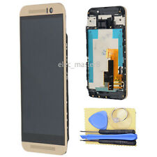 For HTC One M9 Gold LCD Display Touch Screen Digitizer +Frame Replacement Parts