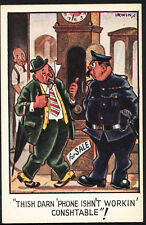 Comic Postcard - Alcohol / Drunken Man / Policeman / Phone / Clock A6998