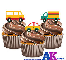 PRECUT Bus Car Lorry 12 Edible Cupcake Toppers Cake  Decorations Birthday Party